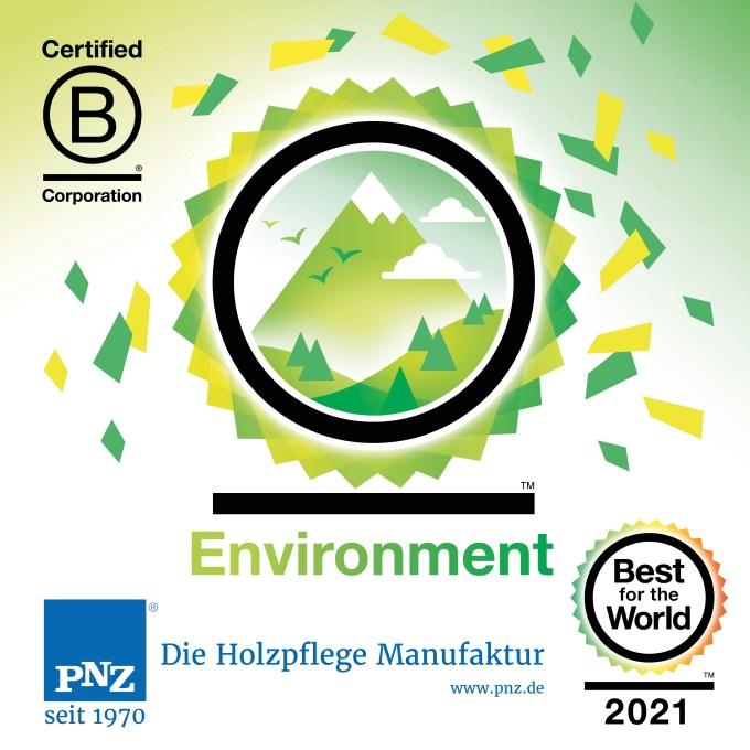 德国PNZ木蜡油被B Corp评选为2021年度全球环保领域最佳企业之一